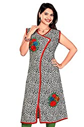 Karan Kurtis Womens Cotton Aline Kurta (Kurtis-0226-3Xl_Black)
