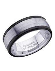 8 Mm Peora Classic Flat Edge, Satin Finish Tungsten Carbide And Black Ceramic Men's Ring PTR664