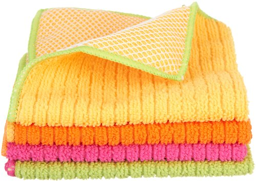 Ritz 60026 Microfiber 12 by 12-Inch Dish Cloth with Poly Scour Side, 4-Pack, AssortedPink/Yellow/Orange/Green
