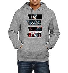 Fanideaz Men's Cotton Suit Captain America Hoodies For Men (Premium Sweatshirt)_Grey Melange_M
