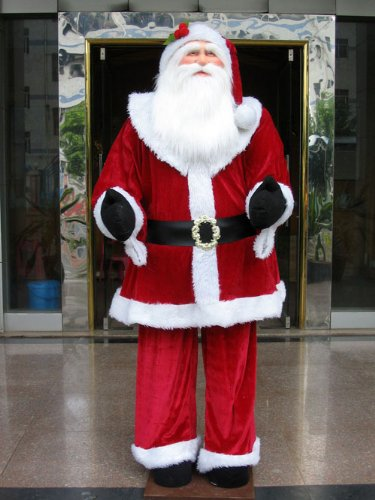 Huge 6 Foot Life-Size Decorative Plush Santa Claus - Sitting or Standing
