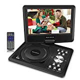 9'' Portable DVD Player with 5 Hours Built-in Rechargeable Battery, Swivel Screen, 1.8M Car Charger, SD/USB Port, Remote Control for TV Kids Travel and Car-Black (Car Headrest Mount Included)