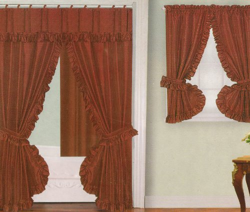 Best Buy Rust Fabric Double Swag Shower Curtain With Matching Window Curtain And Vinyl Liner