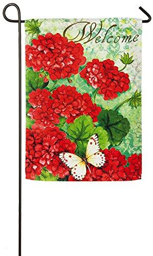 Evergreen Red Geranium Suede Garden Flag, 12.5 x 18 inches