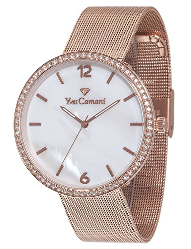 Yves Camani Adorian Women's Quartz Watch with Mother of Pearl Dial Analogue Display and Rose Gold Stainless Steel Bracelet Yc1086-B