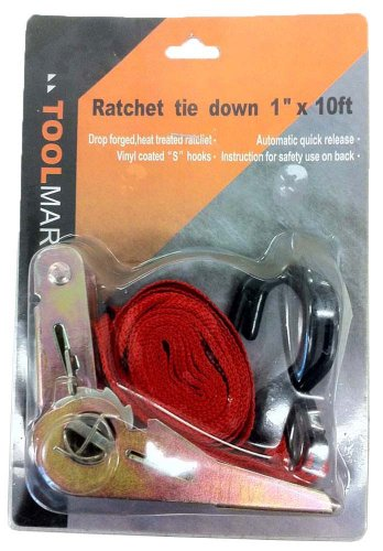 """Ratchet Tie Down With 1"""" X 10' Nylon Strap front-497356"""