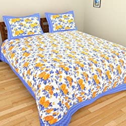 Rajkruti Cotton jaipuri bedsheet king sized double bed sheet with two pillow cover-90 Inches x 108 Inches,HK137
