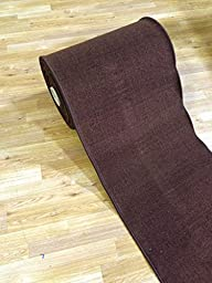 Custom Size BROWN Solid Plain Rubber Backed Non-Slip Hallway Stair Runner Rug Carpet 22 inch Wide Choose Your Length 22in X 13ft