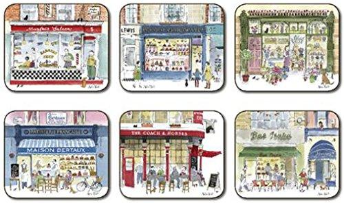 "6 X Luxury Elegant Traditional Shops Superb Quality Cork Coasters L4.5"" X W3.75"""