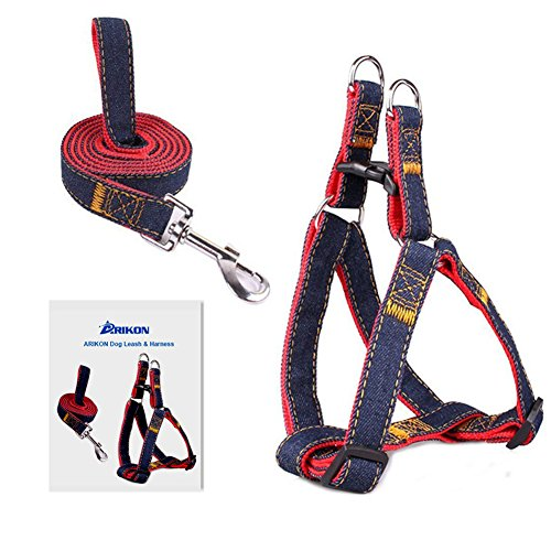 No-Pull Dog Leash Harness, ARIKON Adjustable and Heavy Duty Denim Dog Training Walking Leash Collar for Large Dog