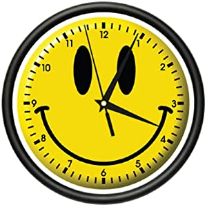 SMILEY FACE Wall Clock happy smilie faces bedroom art