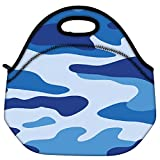 Snoogg Big Blue Camouflage 2786 Travel Outdoor Carry Lunch Bag Picnic Tote Box Container Zip Out Removable Carry Lunchbox Handle Tote Lunch Bag Food Bag For School Work Office