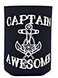 Funny Beer Coolie Captain Awesome 6 Pack Can Coolies Navy