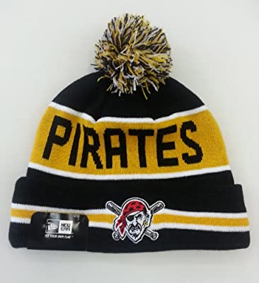 Pittsburgh Pirates Striped Cuffed Pom Knit Beanie Cap
