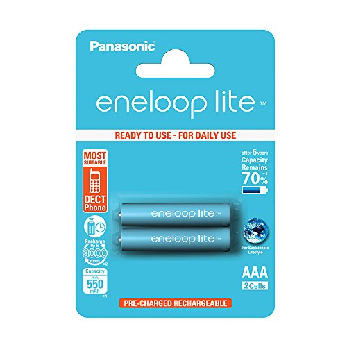 Panasonic BK-4LCCE/2BE Eneloop Lite Micro AAA 550 mAh Rechargeable Battery (Pack of 2)