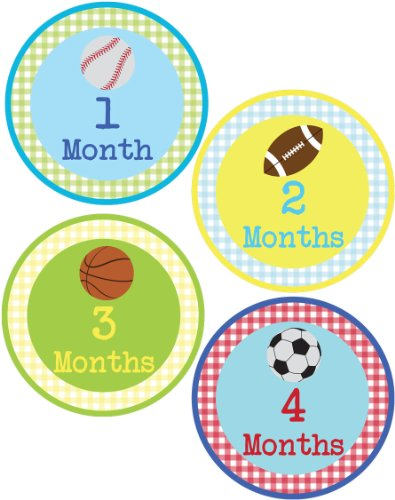 Baby Boy Sports Monthly Onesie Sticker - Waterproof and Durable - Includes 1-12 Month Stickers