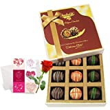 Valentine Chocholik's Luxury Chocolates - Yummy Truffles Treat With Love Card And Rose