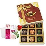 Valentine Chocholik's Luxury Chocolates - Yummy Truffles Treat With Love Card And Rose