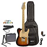 Sawtooth ST-ET-SBW-KIT-3 Electric Guitar, Sunburst with Aged White Pickguard