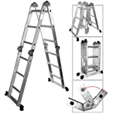 Neiko® 01995 Folding Aluminum Ladder, 12.5-Ft Extended | 300 Lbs. Capacity