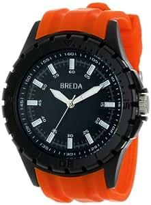 Breda Men's 9308-orange Harvey Thick Black Bezel Rubber Band Watch