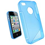 IGadgitz Dual Tone Blue Durable Crystal Gel Skin (Thermoplastic Polyurethane TPU) Case Cover for Apple iPhone 4 HD & 4S 16GB 32GB 64GB + Screen Protector