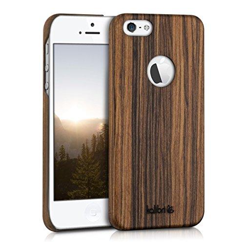 kalibri-Holz-Case-Hlle-fr-Apple-iPhone-SE-5-5S-Handy-Cover-Schutzhlle-aus-Echt-Holz-und-Kunststoff-aus-Lindenholz-in-Braun