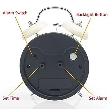 "Chelvee(TM) 4"" Antique Twin Bell Analog Quartz Alarm Clock with Nightlight, Silent Clock Mechanism, Non Ticking, Loud Alarm Bell, Battery Operated. (White)"