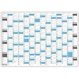 Jahreskalender 2017 gerollt (blau2) - Sehr groß im DIN A0 Format mit extra großen Tageskästchen. (Wandkalender sind gerollt)