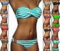 ALZORA Push Up Twist Bandeau Bikini Set Damen Pushup Badeanzug VIELE MUSTER , 20005