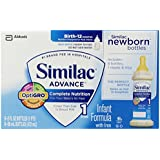 Similac Advance Newborn Infant Formula with Iron, Stage 1 Ready-to-Feed Bottles, 2 Ounce, (Pack of 48) (Packaging May Vary)