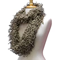 Taupe Wispy Looped Knit Infinity Circle Ring Scarf