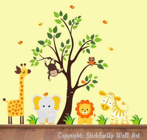tree and safari animal wall stickers 2017 grasscloth wallpaper