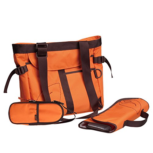Yodo Neutral Sturdy Baby Diaper Bag for Mom and Dad - 9 Pockets - Plus Removable Insulated Bottle Holder and Changing Pad, Orange - 1
