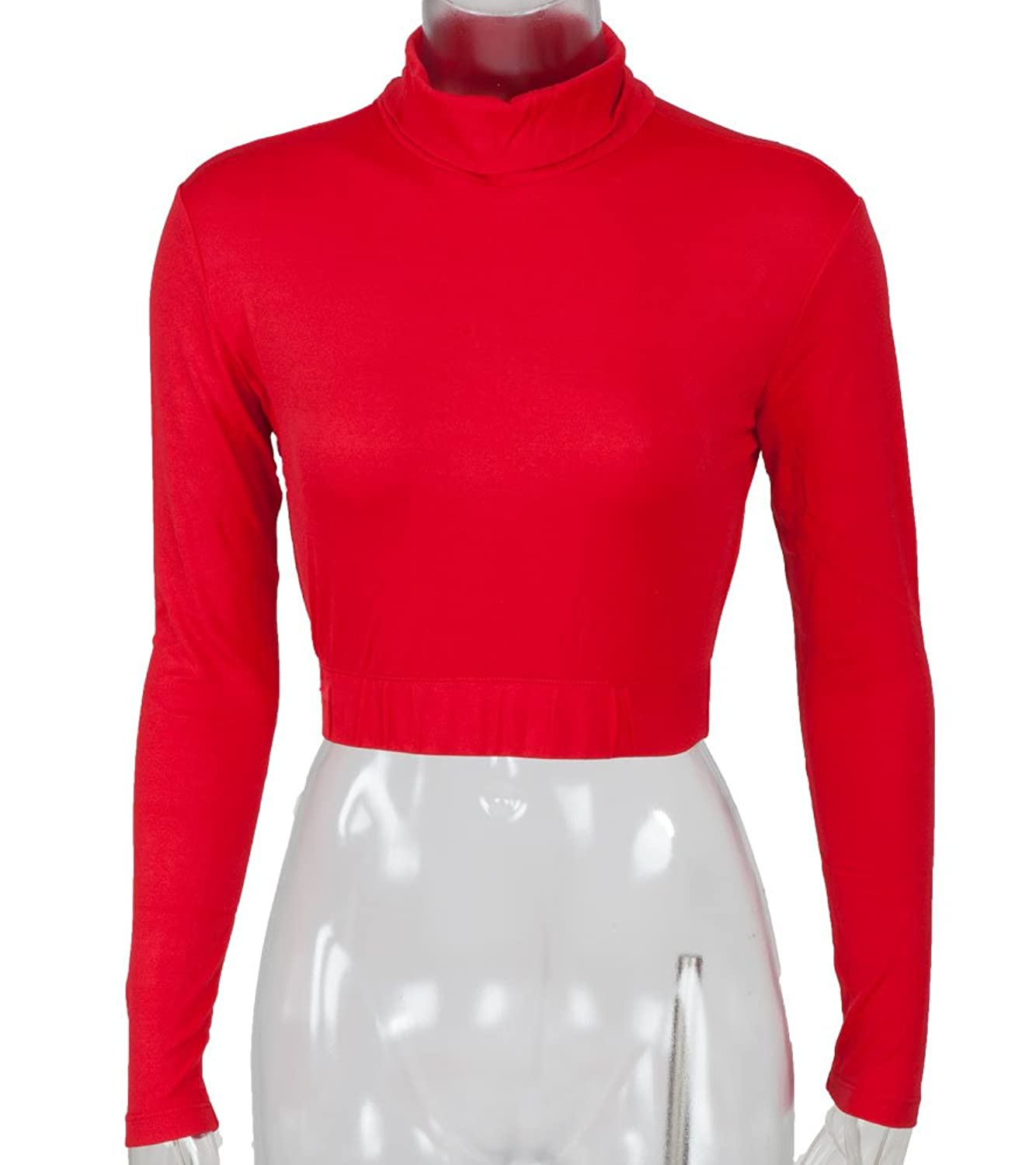 Turtleneck Midriff Size Large Red
