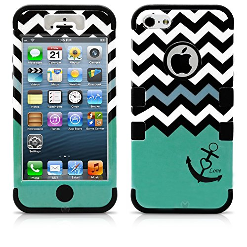 iPhone 5 Case, MagicMobile® Hybrid Impact Shockproof Cover Hard Armor Shell and Soft Silicone Skin Layer [Chevron Pattern with Heart Anchor Design Color: Black - Turquoise ] with Screen Protector and Stylus (Lifeproof Ipod 5 Case Inserts compare prices)