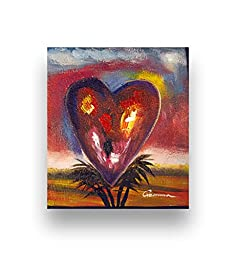 Hand Painted Abstract Painting SUNSET HEART 7''X8'' Stretched Canvas by G Lombardi