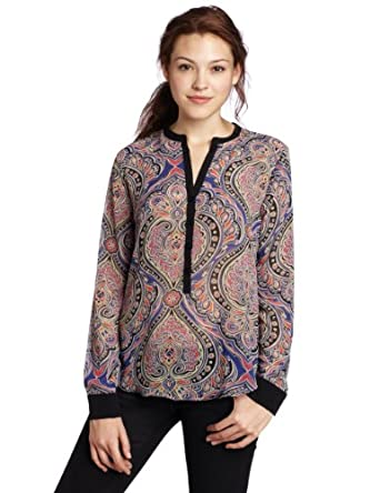 eight sixty Women's Paisley Print Shiffon Long Sleeve Button Blouse, Royal/Magenta, Small