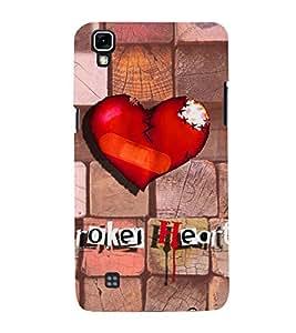 PrintVisa Romantic Love Broken Heart 3D Hard Polycarbonate Designer Back Case Cover for LG X Power