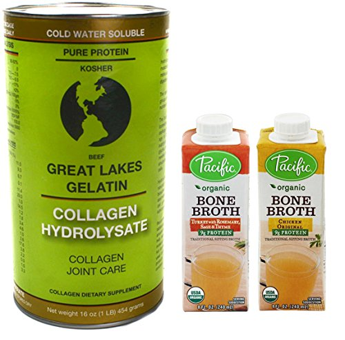 Great Lakes Collagen Hydrolysate Joint Care, Organic Chicken Bone Broth, & Organic Turkey Bone Broth Pack (Paleo Chicken Broth compare prices)