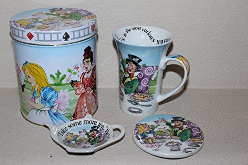 Cardew Alice In Wonderland Porcelain 14-Ounce Mug, Coaster, Tea Bag Rest And Tin Gift Box Set