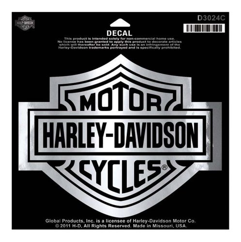 Harley-Davidson Bar & Shield Chrome Large Decal, Large Size Sticker D3024C (Harley Davidson Decal Large compare prices)