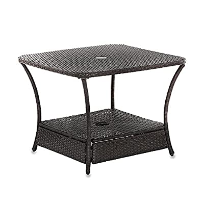 Lovely Read info Umbrella Stand Side Table Base In Wicker For Patio Furniture Outdoor Umbrella Holder Backyard Garden Lawn Sale