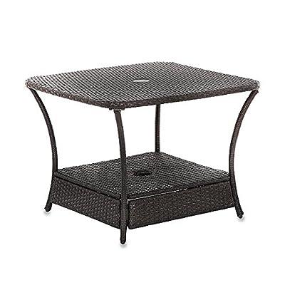 Trend Umbrella Stand Side Table Base In Wicker For Patio Furniture Outdoor Umbrella Holder Backyard Garden Lawn