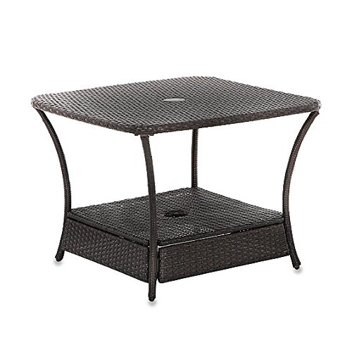 Umbrella Stand Side Table Base In Wicker For Patio Furniture Outdoor Umbrella Holder Backyard Garden Lawn Sale photo