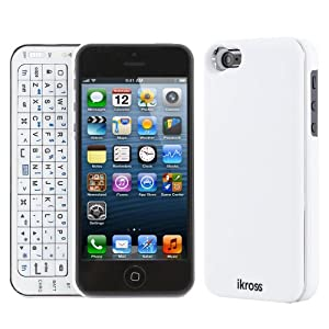 iKross trådlös Slim Case with Bluetooth Keyboard for Apple iPhone 5 5G - white