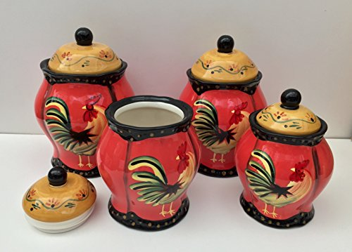 Tuscany Red Hand Painted Canisters