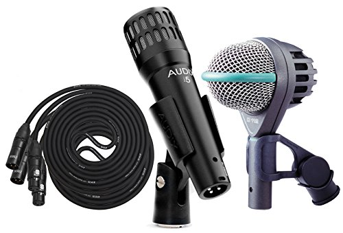 Akg D112 Professional Dynamic Bass Mic With Audix I5 Dynamic Instrument Mic, Set Of 2 Lyxpro 20' Black Premium Cables Xlr M/F