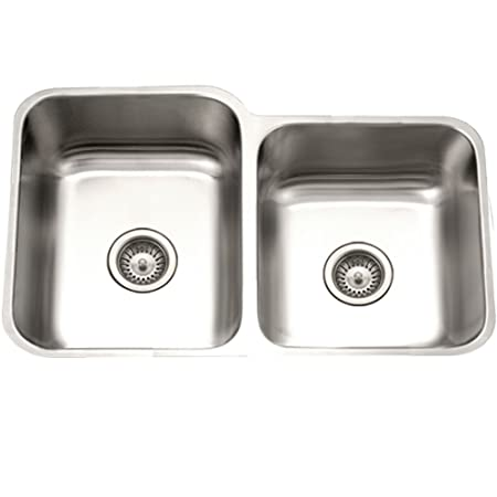 Houzer PNE-3300SR Eston Series Undermount 60/40 Double Bowl Kitchen Sink T-304 Stainless Steel