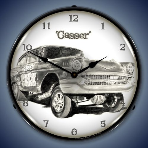 57 Chevy Gasser Lighted Wall Clock